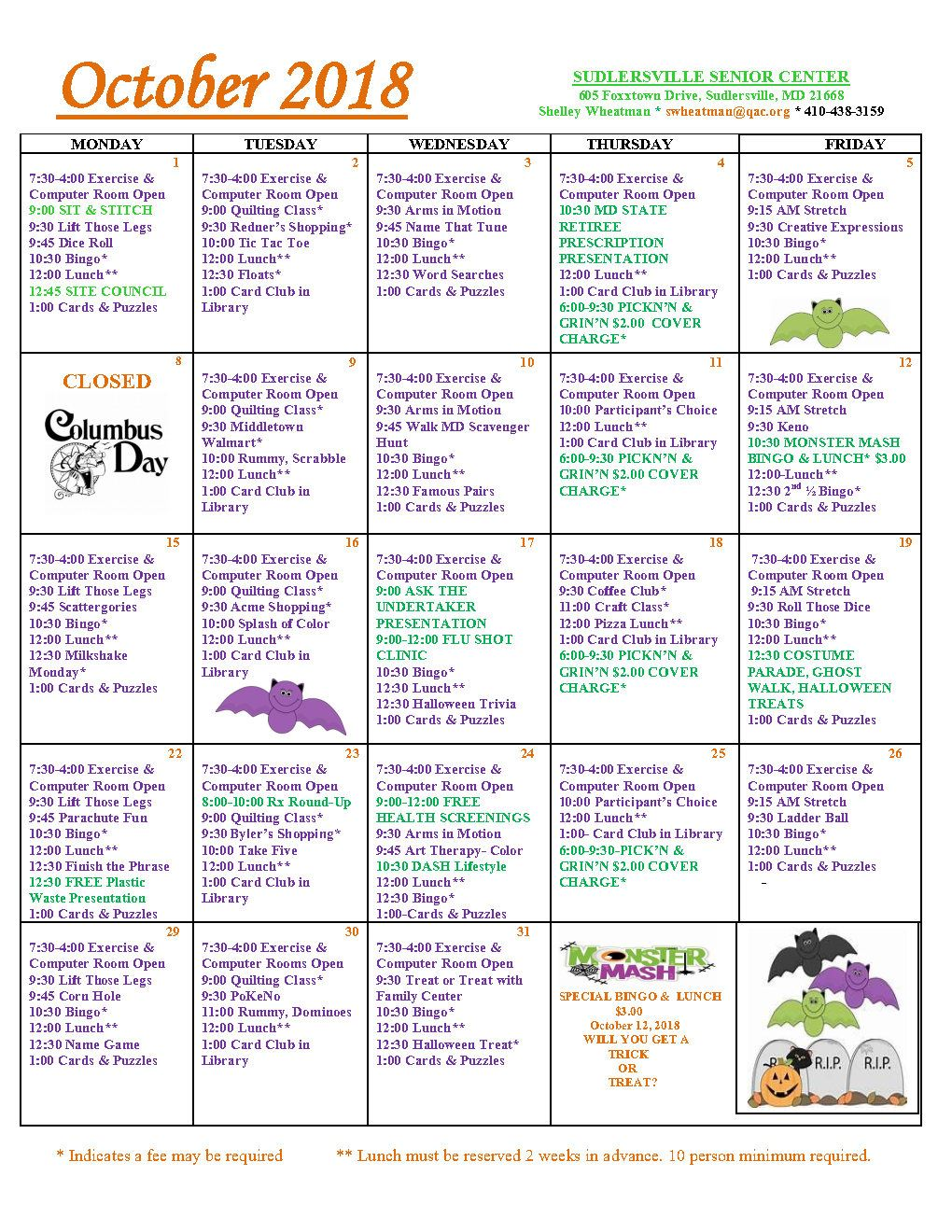 Sudlersville October Calendar