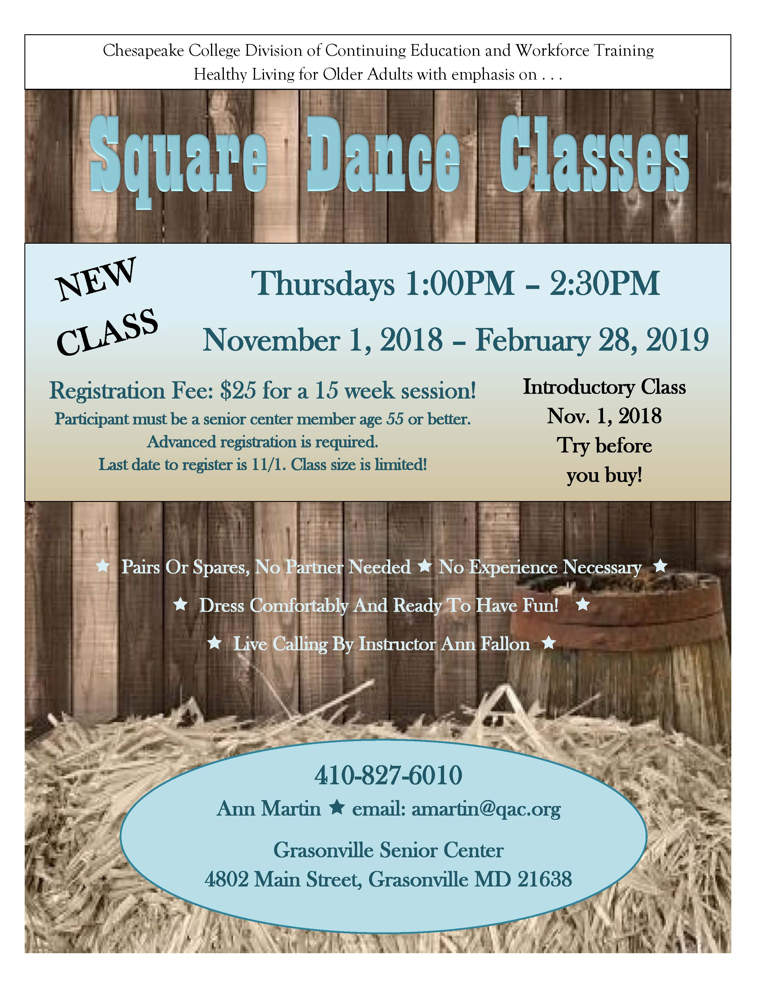 2018 SQUARE DANCE CLASS Flyer introductory
