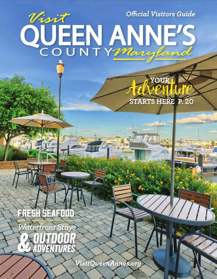 Queen Annes County Cover for Visitors Guide Waterfront Patio with boats in marina