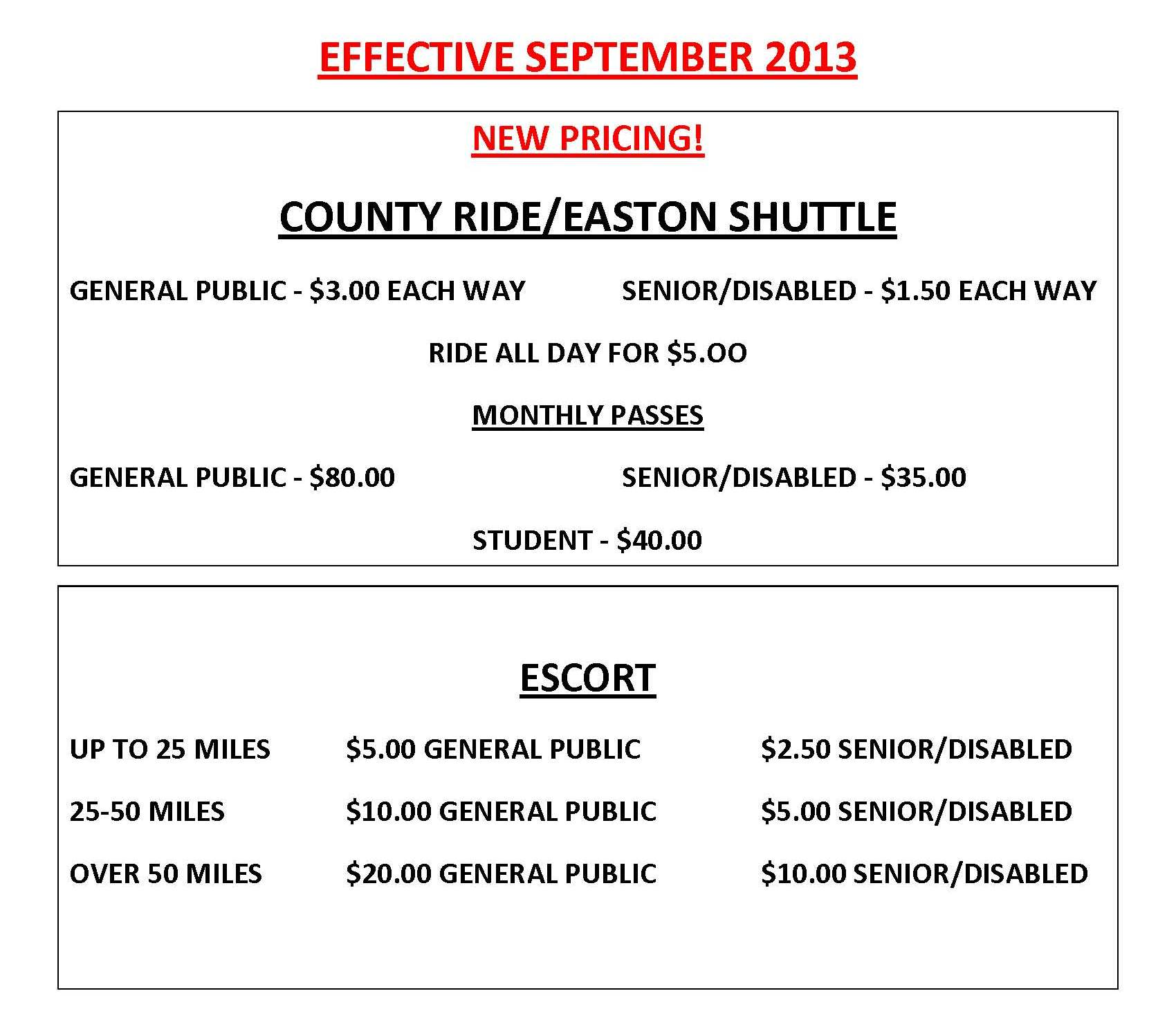 EFFECTIVE SEPTEMBER 2013 NEW PRICING